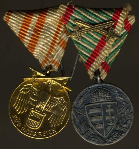 2er Miniaturdekoration Weltkriegserinnerungsmedaillen Österreich & Ungarn