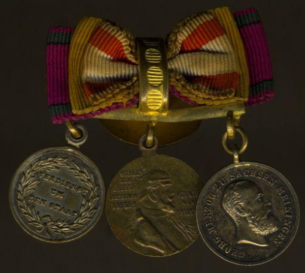 3er Knopflochdekoration mit Sachsen-Meiningen, Goldene Verdienstmedaille des SEHO