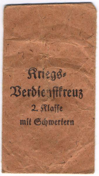 Tüte zum Kriegsverdienstkreuz 2. Klasse 1939 mit Schwertern - Moritz Hausch / Pforzheim