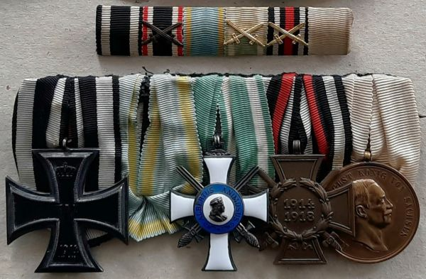 5er Ordens- & Feldschnalle eines Militär-St. Heinrichs-Orden-Ritters mit Rettungsmedaille