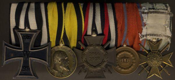5er Ordensschnalle eines Weltkriegsveteranen Württemberg & Bulgarien