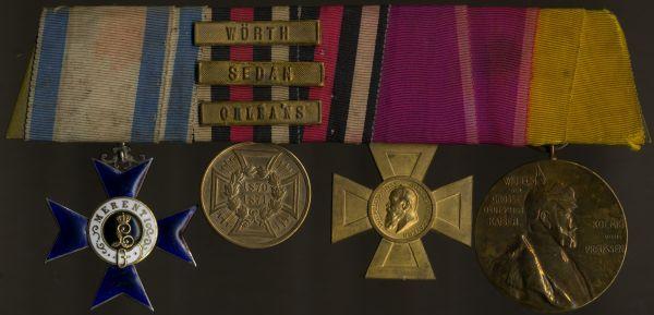 4er Ordensschnalle eines bayerischen 1870/71-Veteranen mit BayMVK