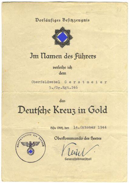 Vorläufiges Besitzzeugnis zum Deutschen Kreuz in Gold des Oberfeldwebels Gerstmeier / Gren.-Rgt. 246