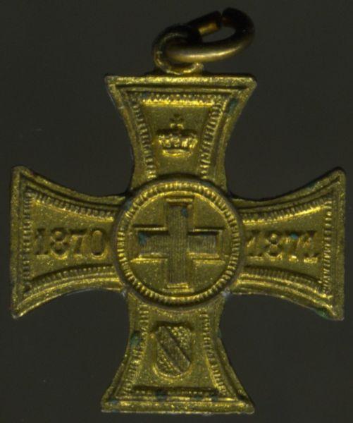 Miniatur - Baden, Erinnerungskreuz für freiwillige Krankenpflege 1870/71