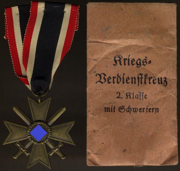 Kriegsverdienstkreuz 2. Klasse 1939 mit Schwertern mit Tüte - Otto Zappe / Gablonz a.d. Neiße