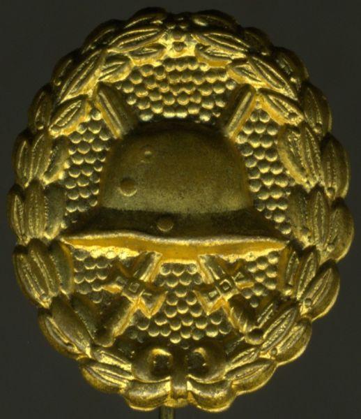 Miniatur - Verwundetenabzeichen 1918 in Mattgelb