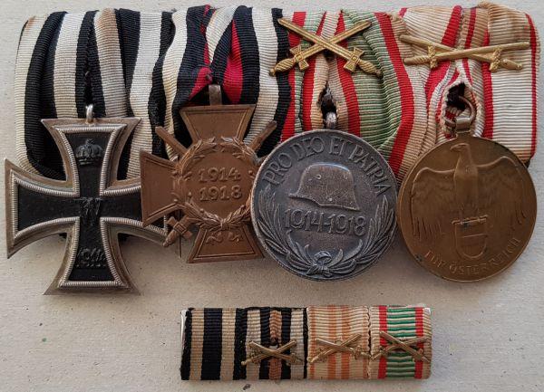 4er Ordensschnalle + Feldschnalle eines Weltkriegsveteranen