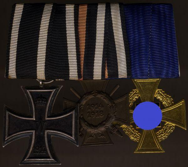 3er Ordensschnalle eines Staatsbediensteten & Weltkriegsveteranen