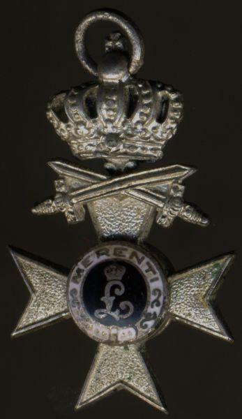 Miniatur - Bayern, Militär-Verdienstkreuz 2. Klasse mit Krone & Schwertern