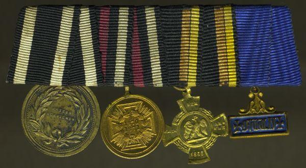 4er Miniatur-Ordensschnalle eines preußischen 1866- & 1870/71-Veteranen