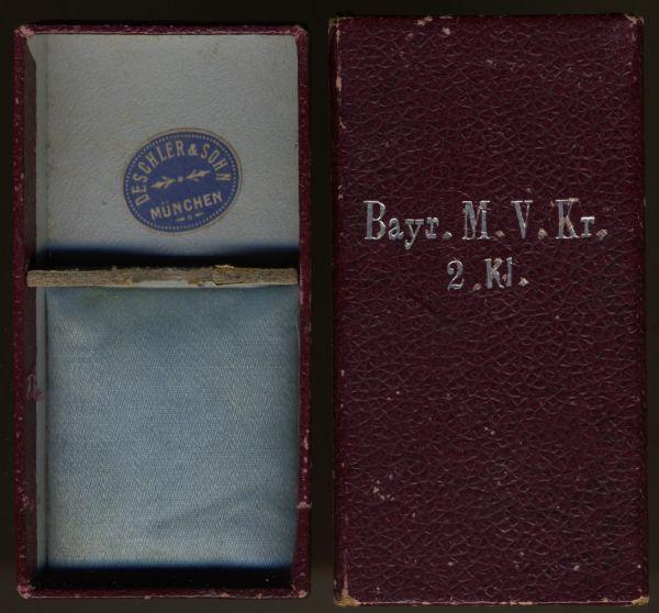 Schachtel zum Bayr. Militär-Verdienstkreuz 2. Klasse mit Schwertern - Deschler & Sohn / München