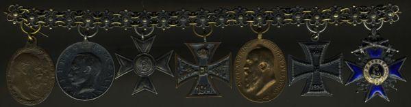 7er Miniaturenkettchen mit Kronprinz-Rupprecht-Medaille in Silber