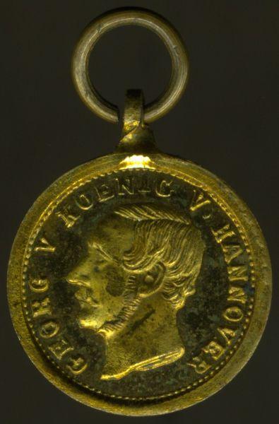 Miniatur-Medaille auf Georg V. König von Hannover