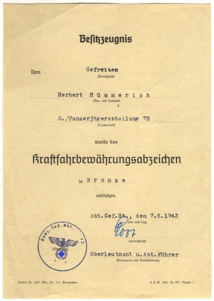 Urkundengruppe des (Ober-?) Gefreiten Herbert Hümmerich / Panzerjäger-Abt. 72