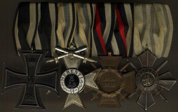 4er Ordensschnalle eines Weltkriegsveteranen mit Bayern & Bulgarien