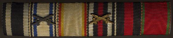 6er Feldschnalle eines Weltrkriegsveteranen mit Bayern, Mecklenburg & 3. Reich