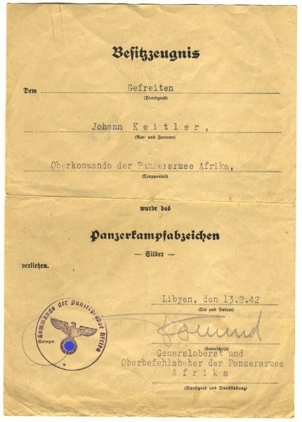 Urkundenpaar des Johann Keitler / Oberkommando der Panzerarmee / Heeresgruppe Afrika - OU Rommel (!)