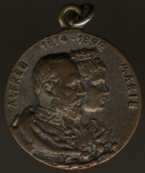 Miniatur - Sachsen-Coburg & Gotha, Erinnerungsmedaille an die Silberne Hochzeit Herzog Alfreds