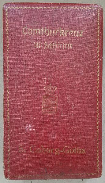 Etui zum SEHO Komturkreuz mit Schwertern Sachsen-Coburg & Gotha