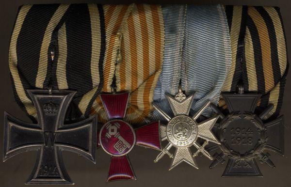 4er Ordensschnalle eines Weltkriegsveteranen mit Bremen & Bulgarien