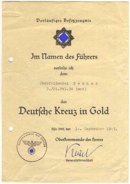 Vorläufiges Besitzzeugnis zum Deutschen Kreuz in Gold des Oberfeldwebels Becker / Pio.-Btl. 34