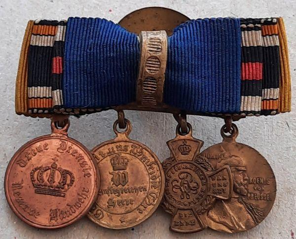4er Knopflochdekoration eines preußischen 1866- & 1870/71- Veteranen
