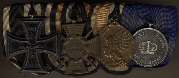 4er Ordensschnalle eines preußischen Südwestafrika- & Weltkriegs-Veteranen