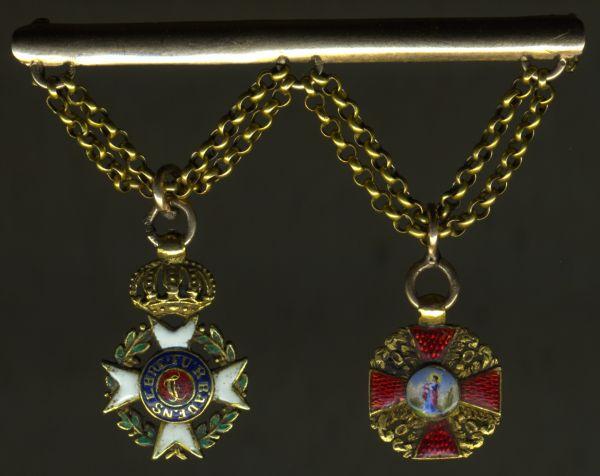 2er Miniaturen-Barett eines Offiziers der Befreiungskriege mit Baden & Russland