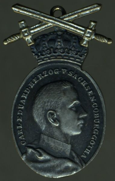 Miniatur - Sachsen-Coburg & Gotha - Ovale silberne Hzg. Carl Eduard-Medaille mit Schwertern am Ring