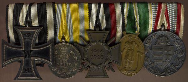 5er Ordensschnalle eines sächsischen Weltkriegsveteranen