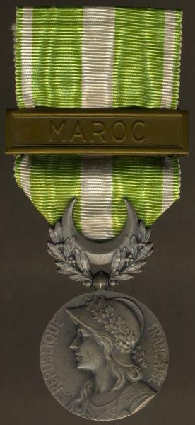 """Frankreich, Marokko-Erinnerungsmedaille mit Spange """"MAROC"""""""