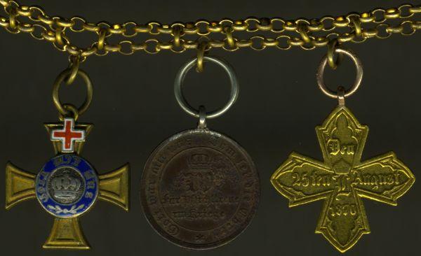 3er Miniaturenkettechen mit Preußen, Kronenorden 4. Klasse mit Genfer Kreuz