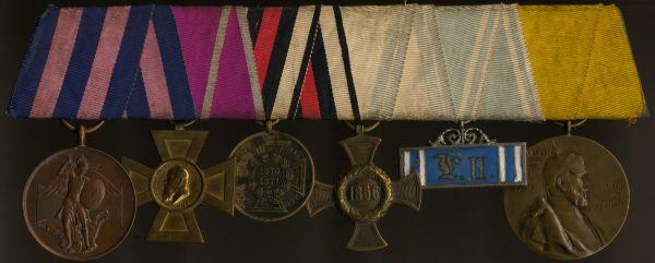 6er Ordensschnalle eines bayerischen 1866- & 1870/71-Veteranen