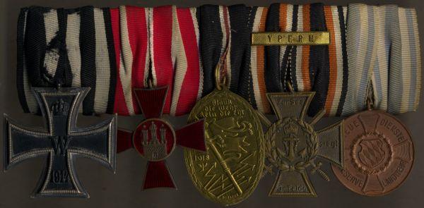 5er Ordensschnalle eines Weltkriegsveteranen mit Bayern & Hamburg