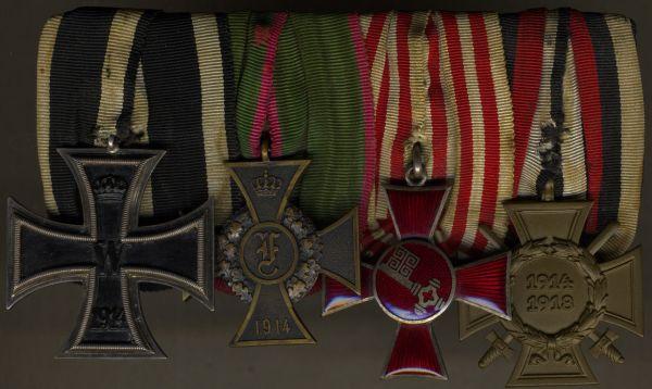 4er Ordensschnalle eines Weltkriegsveteranen mit Anhalt & Bremen