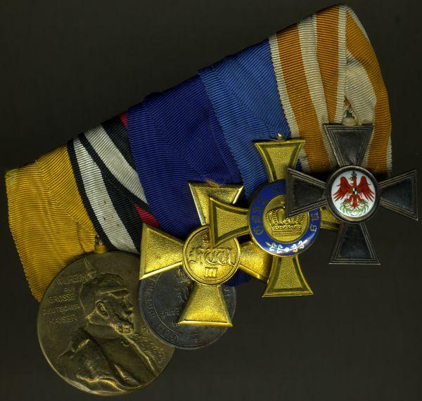 5er Frack-Ordensschnalle eines preußischen Offiziers & 1870/71-Veteranen