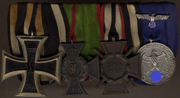 4er Ordensschnalle eines Weltkriegsveteranen mit Anhalt