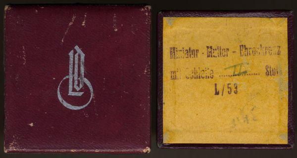"""LDO-Schachtel zur Miniatur eines Mutterkreuzes in Silber - LDO-Logo 1. Form (!) - """"L/53"""""""