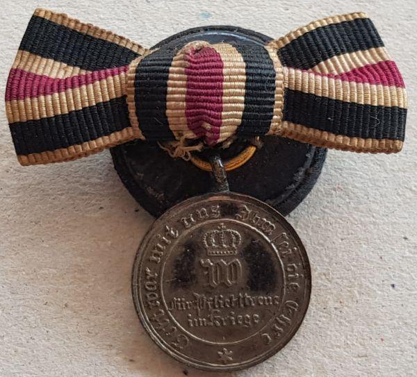 Miniaturdekoration - Preußen, Kriegsdenkmünze 1870/71 (Stahl) am Nichtkämpferband