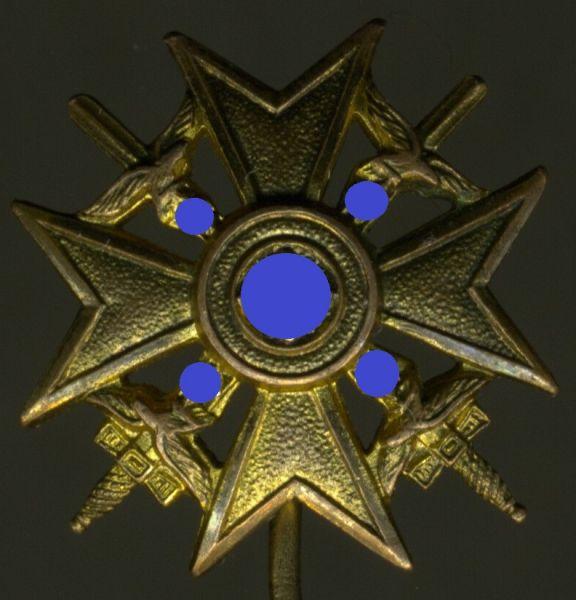 Miniatur - Spanienkreuz in Gold mit Schwertern