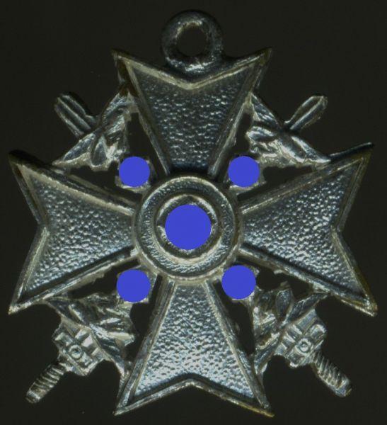 Miniatur - Spanienkreuz in Silber mit Schwertern