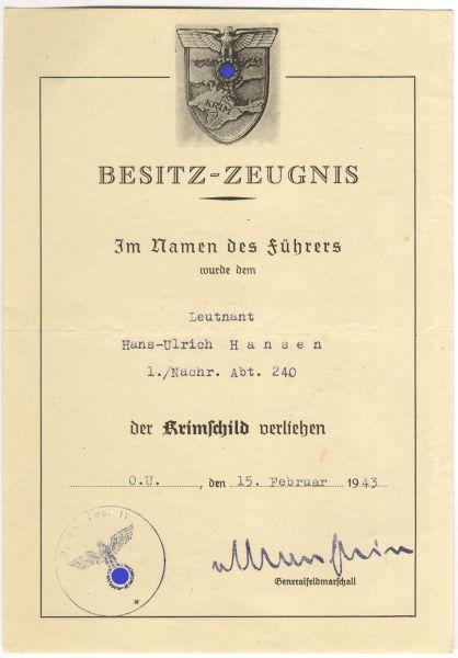 Urkundengruppe des Leutnants Hans-Ulrich Hansen / Führungs-Nachrichten-Regiment 601