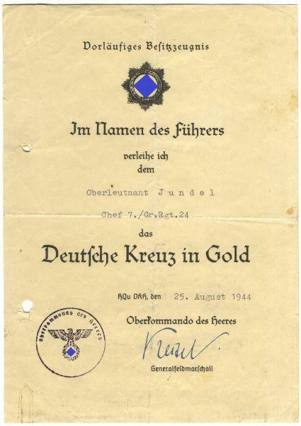 Vorläufiges Besitzzeugnis zum Deutschen Kreuz in Gold des Oberleutnants Jundel / Gren.-Rgt. 24