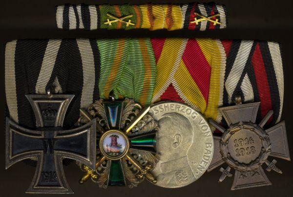 4er Ordens- & Feldschnalle eines WK1-Offiziers Baden