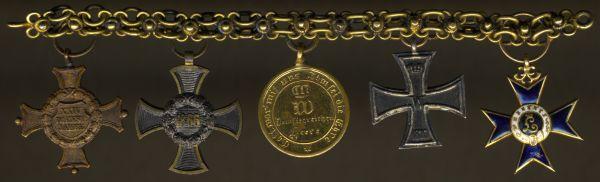 5er Miniaturenkettchen eines bayerischen Offiziers der 1866- & 1870/71-Kriege