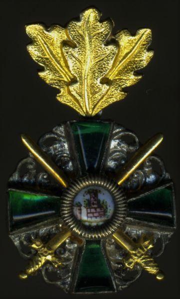 Miniatur - Baden, Orden vom Zähringer Löwen Ritterkreuz 2. Klasse mit Eichenlaub & Schwertern