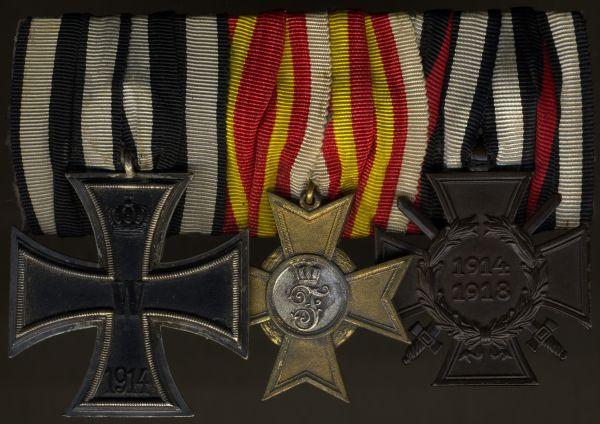 3er Ordensschnalle mit Baden, Kriegsverdienstkreuz