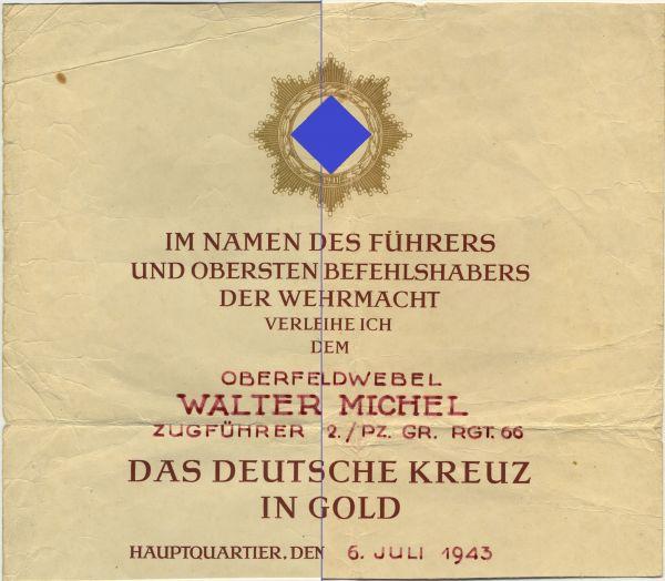 Verleihungsurkunde zum Deutschen Kreuz in Gold des Oberfeldwebels Walter Michel / Pz.-Gren.-Rgt. 66