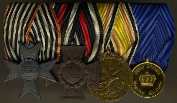 4er Ordensschnalle eines China- & Weltkriegs-Veteranen - Sedlatzek / Berlin