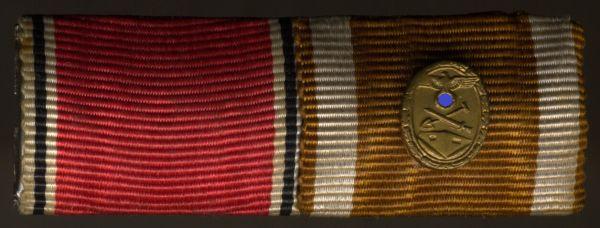 2er Feldschnalle mit Miniatur-Auflage Schutzwall-Ehrenzeichen
